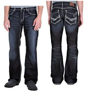BKE Justin Jeans Bootcut Flap Pockets Dark Wash